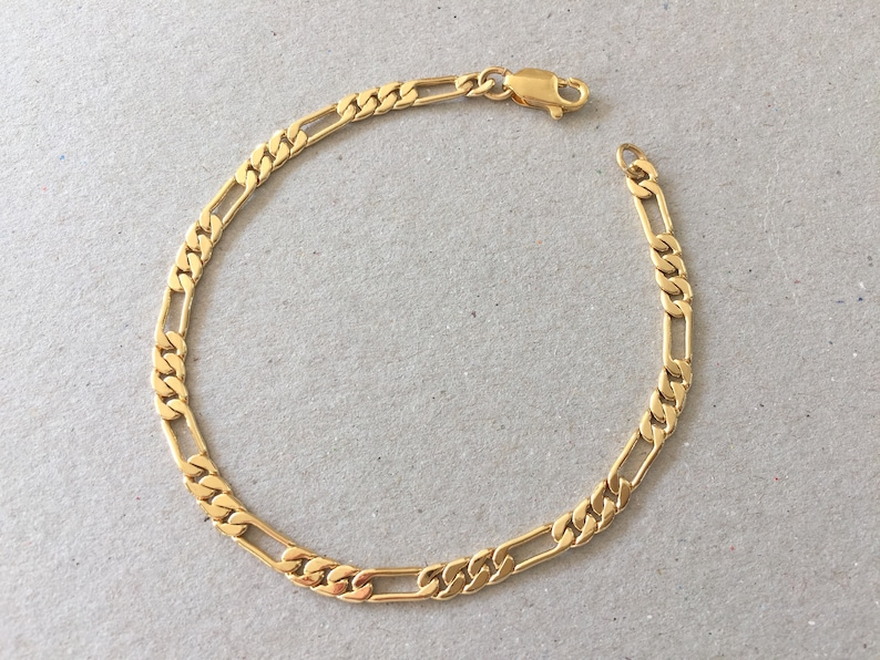 7d2ed66cd Gold Chain Bracelet Smooth Figaro Chain Bracelet Thin Simple | Etsy