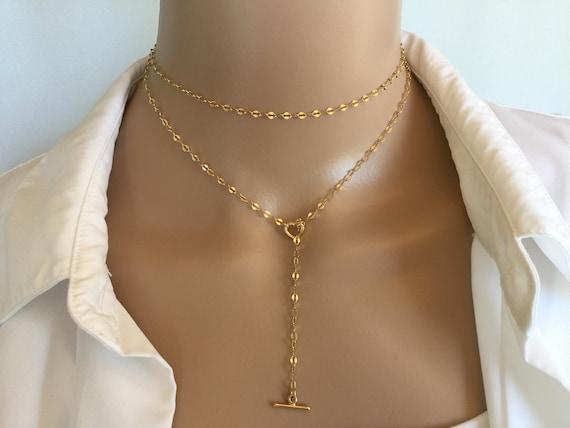 14K Gold Bar Pendant Necklace,14k Gold filled Dainty Necklace Gold Pendant Necklace Y Necklace Long Necklace Layering Necklace