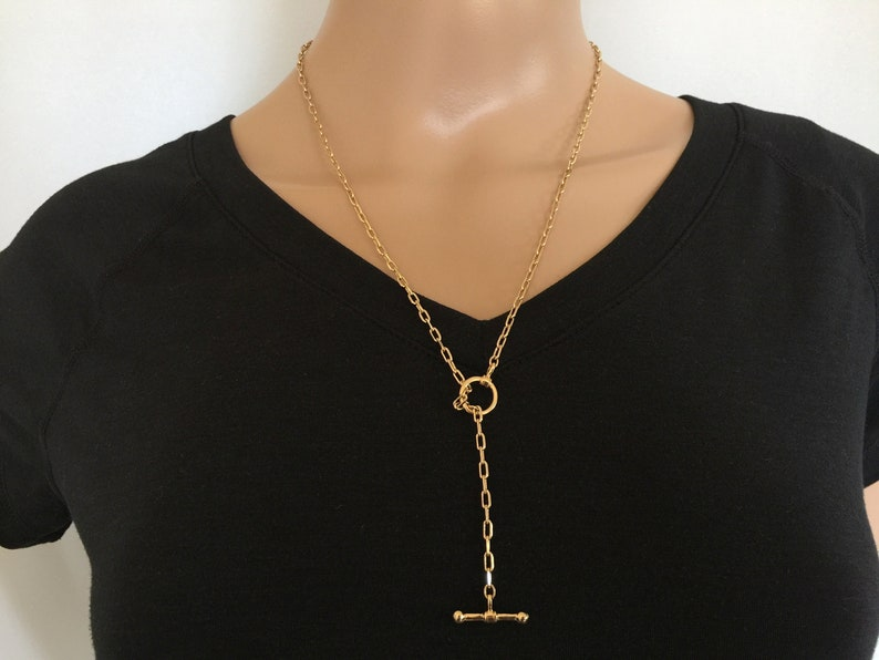 Chunky O Ring Toggle Clasp Lariat Y Boho Women/'s Jewelry Toggle Clasp Necklace 2.8 mm Thick Gold Long Box Link Chain