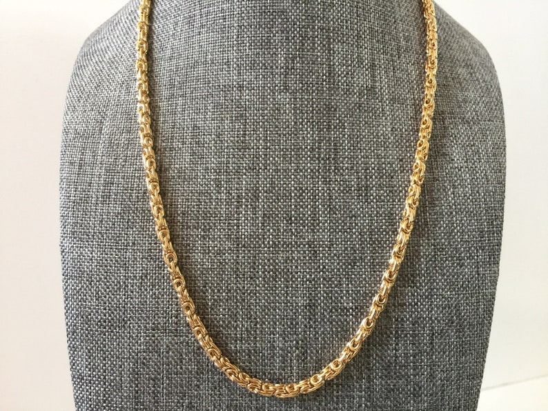 Chunky Necklace Gold Chain Necklace Byzantine Gold Chain Medieval Minimalist Jewelry Unisex Jewelry 3.8mm Thick Chainmail Necklace