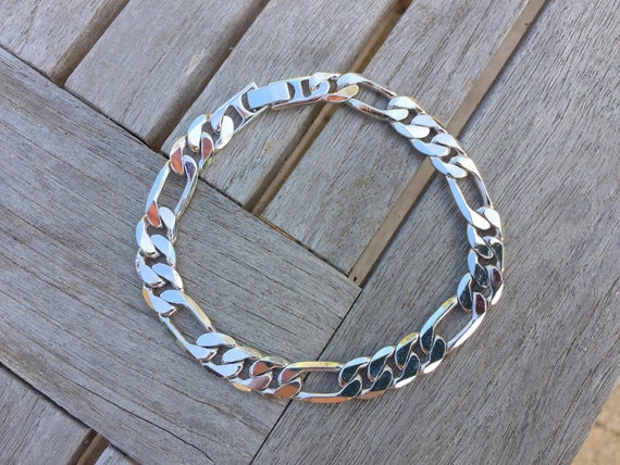3b7a1f7a1008e Men's Silver Bracelet, Rhodium Figaro Bracelet, Men's Jewelry, 9.2mm Thick  Chunky Bracelet, Unisex Jewelry, White Gold, Heavy Link Chain