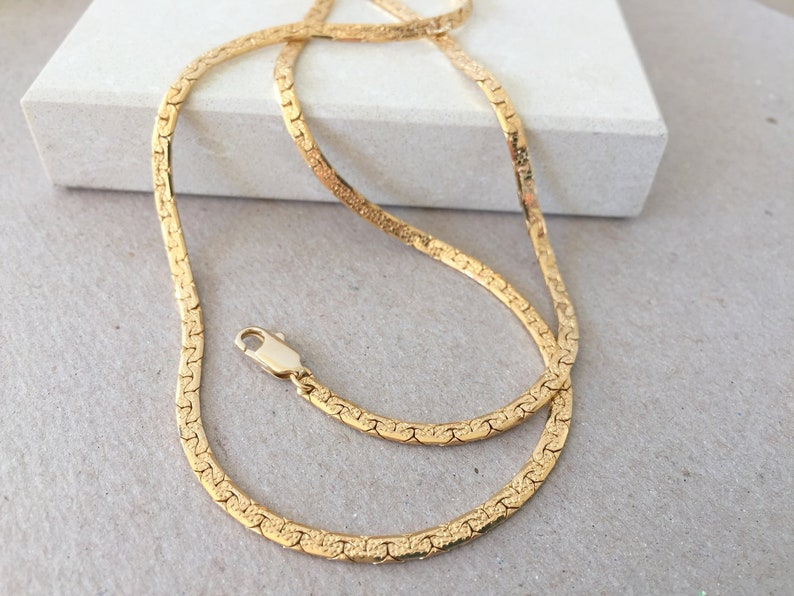 4c5f8e419512c Gold Chain Necklace, 3mm Herringbone Gold Chain, Shiny Chain, Simple Gold  Necklace, Minimalist Choker, 14
