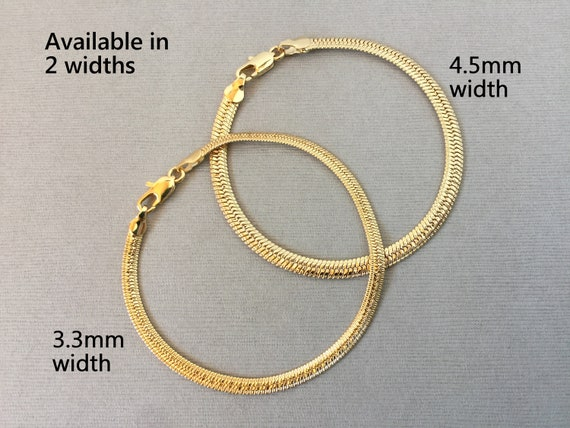 Gold Herringbone Chain Bracelet Wide Herringbone Chain Bracelet Shiny Simple Snake Herringbone Bracelet Available in 3 widths