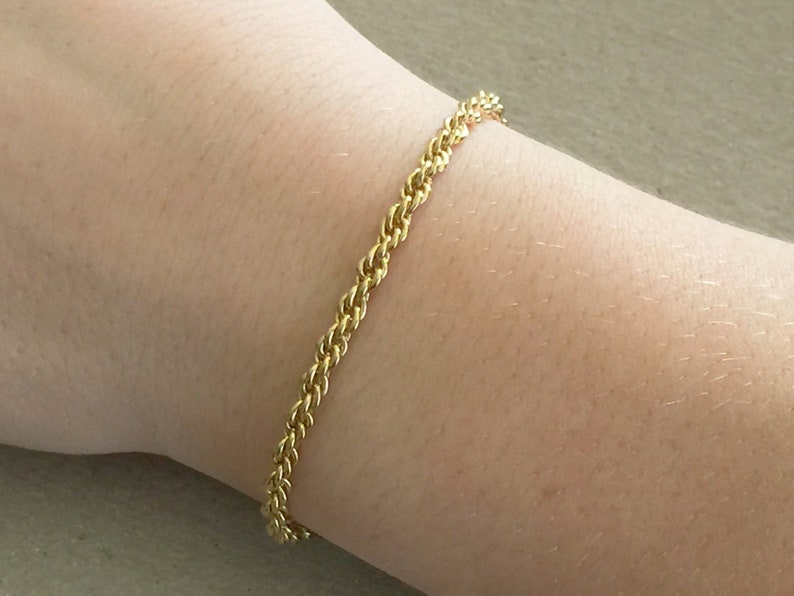 345124a1b20f9 Rope Chain Bracelet, Gold French Rope, 3.5mm Thick Gold Rope Chain  Bracelet, Braided Rope Chain, Thick Gold Bracelet, Jewelry for Men, Women