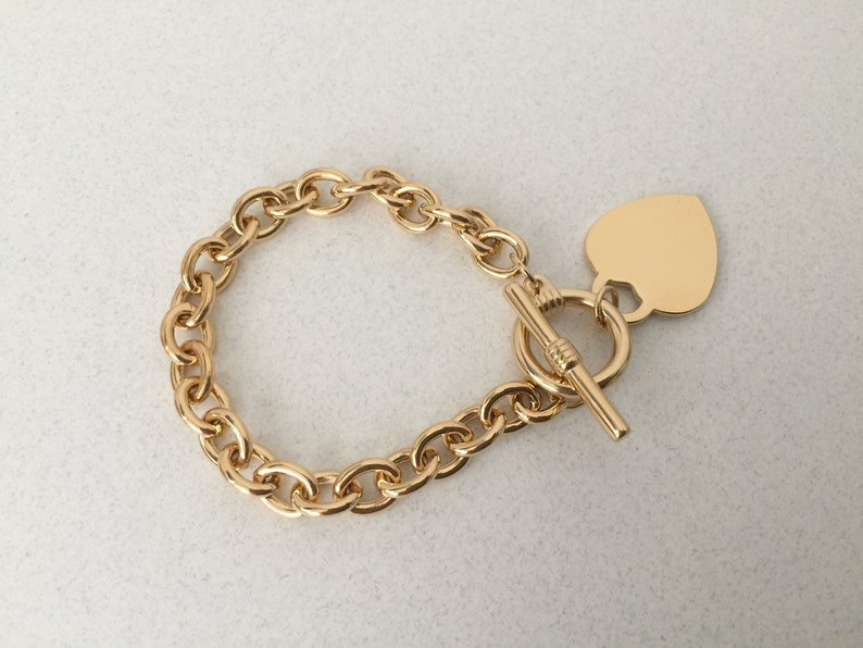 Thick Chain Bracelet Gold T Bar Chain with Large Dangling Heart Charm Pendant Bohemian Chain Chunky Oval Cable Link Toggle Clasp Bracelet
