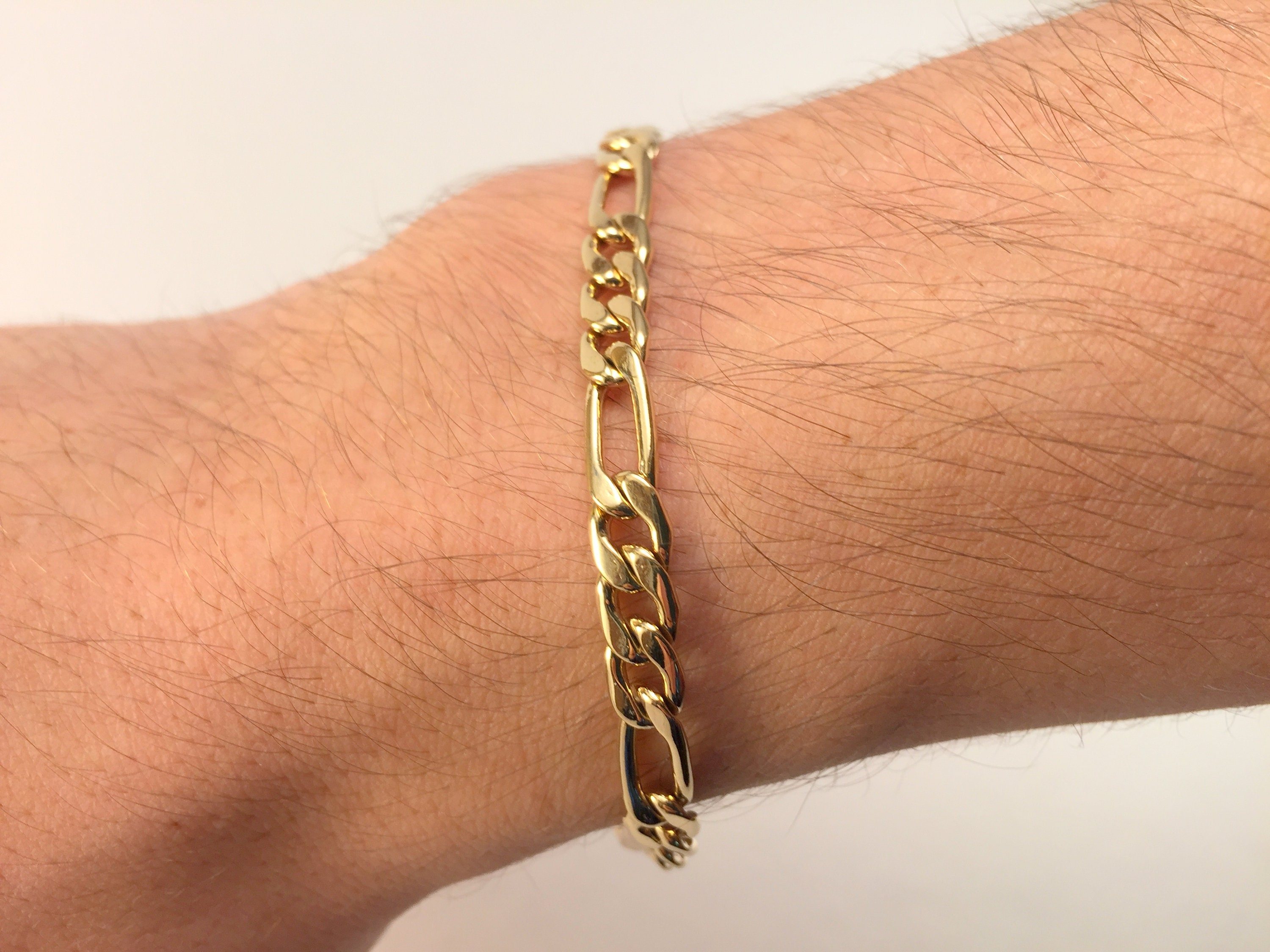63c29c0e53a61 Mens Gold Bracelet, Figaro Diamond Cut Chain Bracelet, 5.5mm, 6.5mm Long  Link Chain Jewelry, All Lengths Available, Chain for Men and Women