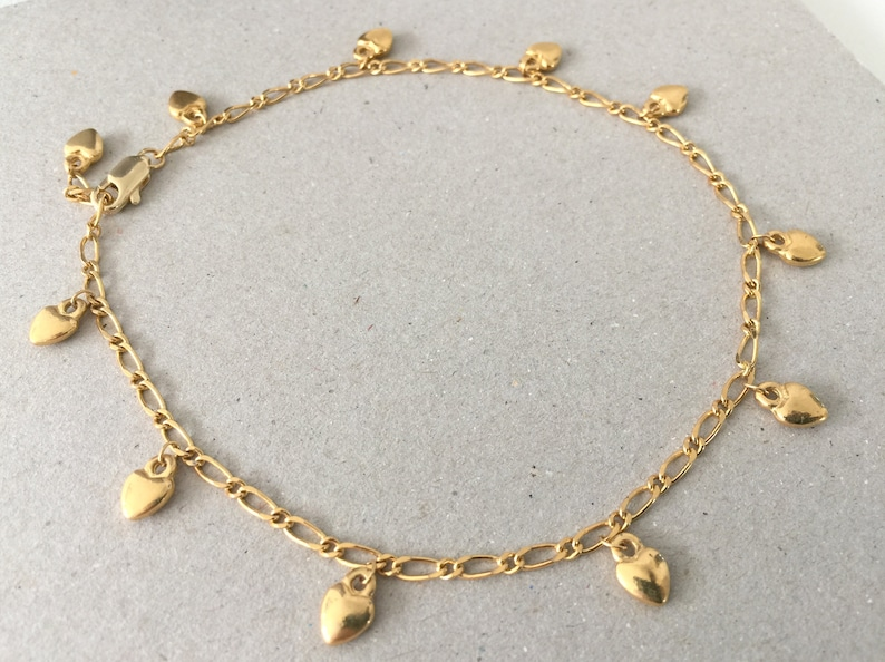 Hearty Polished Figaro Link Anklet In 14k Gold Over Modern Design Jewelry & Watches