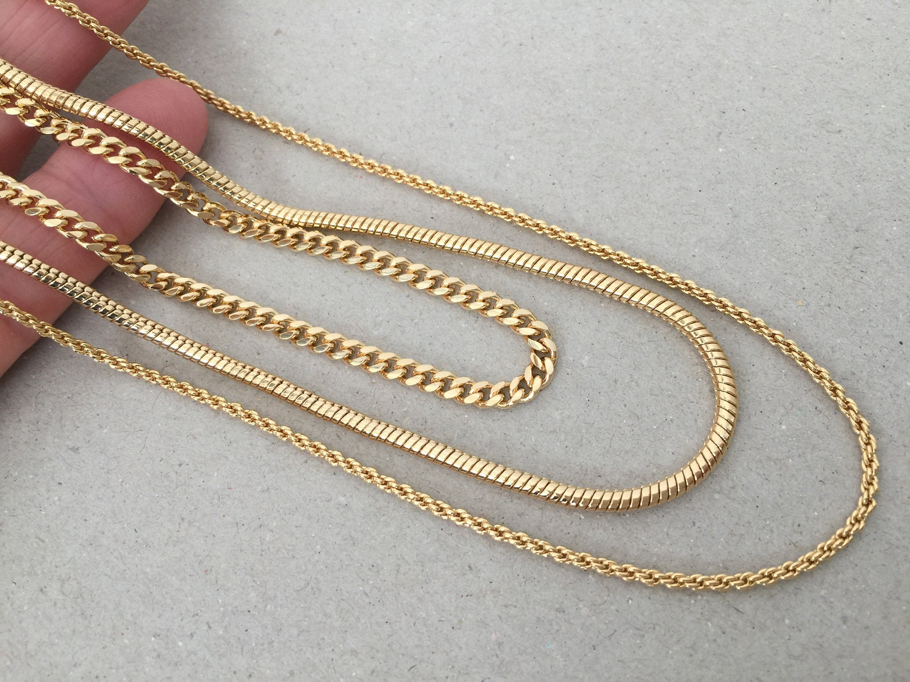 Gold Chain Necklace Thick Snake Chain Curb Link Chain Skinny Rope Chain 17 18 20 Gold Chain Necklace Set