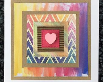Multicolour heart handmade card