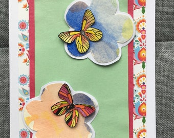 Butterfly handmade flower card