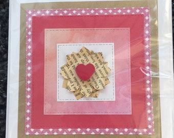 Pink flower handmade card