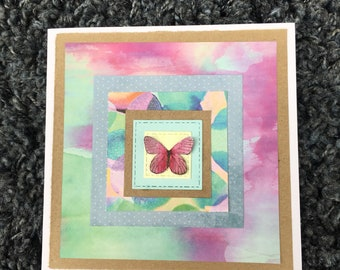 Watercolour butterfly handmade card