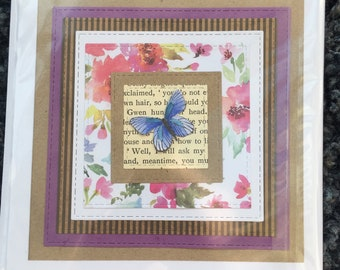 Purple and pink floral handmade card