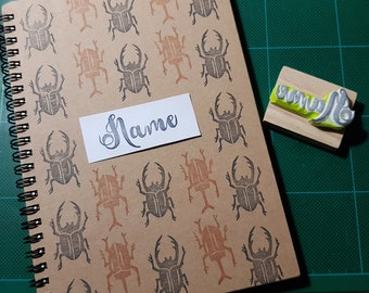 Handmade Notebook with rubber stamp ur name