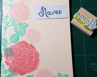 Handmade Notebook with your name rubber stamp