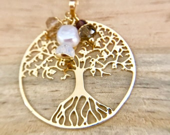 24k gold plated handmade necklace & earring set freshwater pearls tree of life