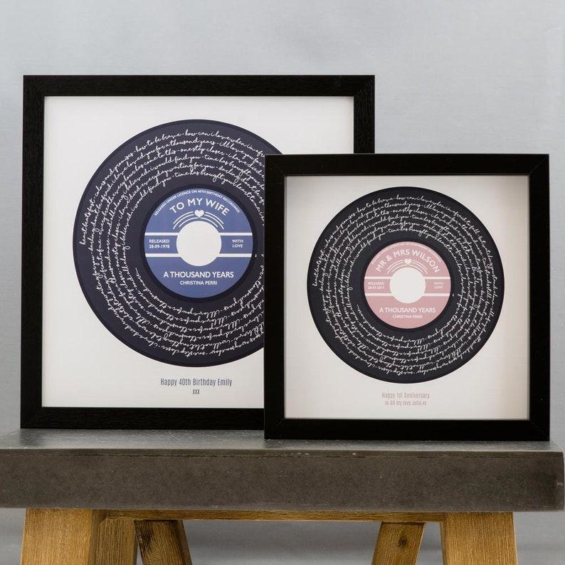 Any Song Lyrics Personalised Print  Custom Vinyl Record Label image 0