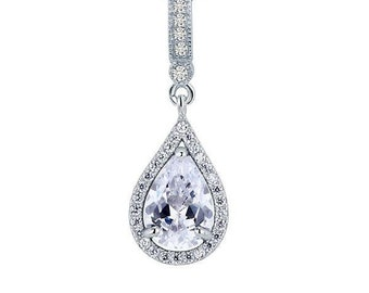 925 sterling silver fashion bridesmaid pendant necklace bridal wedding tear drop