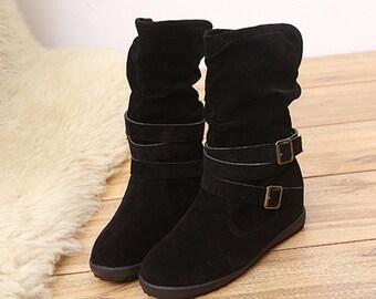 Belt BuckleTassels Womens Low Wedge Biker Ankle Trim Flat Ankle Boots Shoes