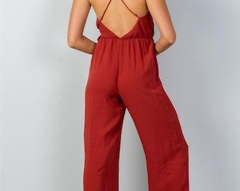 Ladies fashion terra cota faux wrap jersey jumpsuit