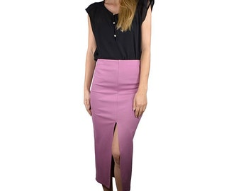 Solid front slit pencil fitted skirt