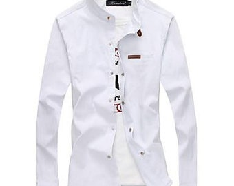 Men's fashion stand-up collar long sleeved shirt