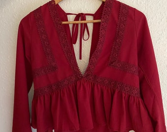 Lace Trimmed Red Top.