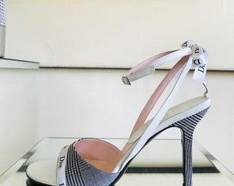 Christian Dior Glen Plaid High Heel Sandals