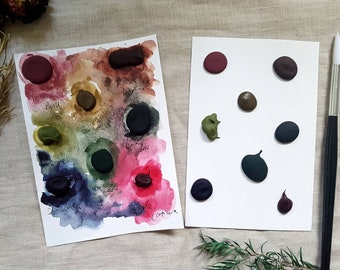 8 Colours Dotcard - Granulating/Mixed Colours - Handmade Watercolours