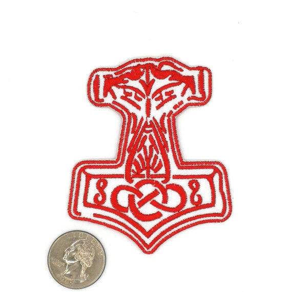 Red Hammer Of Thor Patch Hammer Of Thor Patch Iron On Etsy