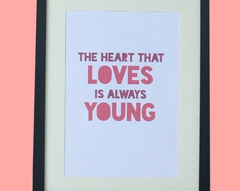 Young Love // Love // A4 // Prints //Home Decor // Wall Art // Typography //