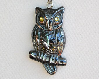 Natural Hematite Carved Owl with Rhinestone Eyes Pendant Necklace - Potterhead Jewelry