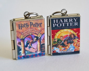 JK Rowling Wizard Book Locket (custom quote inside) Charm, Keychain or Pendant Necklace - Potterhead Jewelry