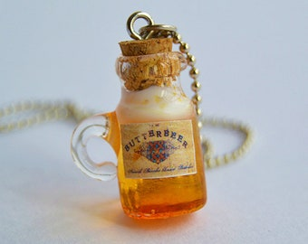 Butterbeer - Wizard Beer Mug Glass Bottle Charm Pendant Necklace or Earrings - Potterhead Jewelry