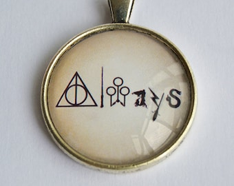 Always Quote Glass Pendant Necklace or Keychain - Potterhead Jewelry