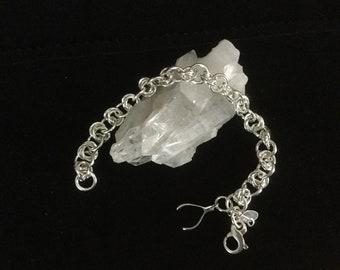 Sterling Silver Triple Ring Bracelet w/ Wishbone charm