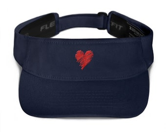 Visor - Minimalist Red Sketchy Love Heart
