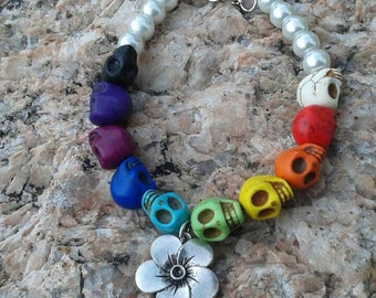 Rainbow Howlite skull bracelet with Faux Pearls