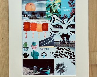 """Contemporary Collage A4 Print """"Beads on the ground"""""""