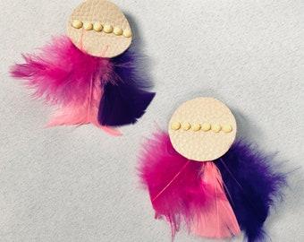Leather geometric pink purple feathers statement stud earrings