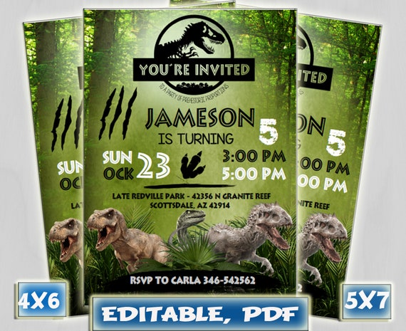 Jurassic World Invitation Birthday
