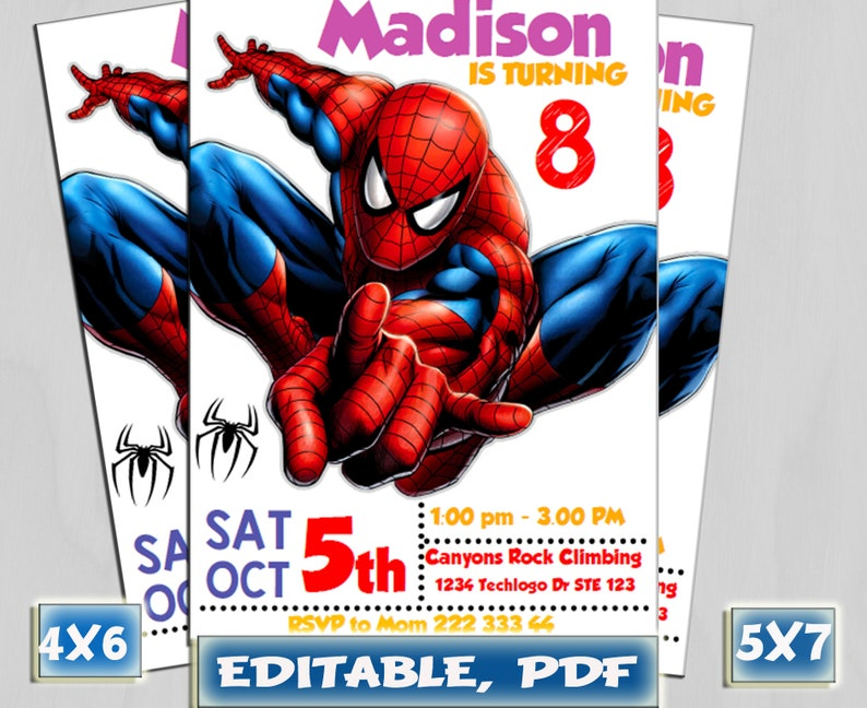image about Printable Spiderman Invitations identified as Spiderman Invitation, Spiderman Birthday Invitation, Spiderman, Spiderman Printable, Spiderman Card, Spiderman Invite Celebration, Electronic