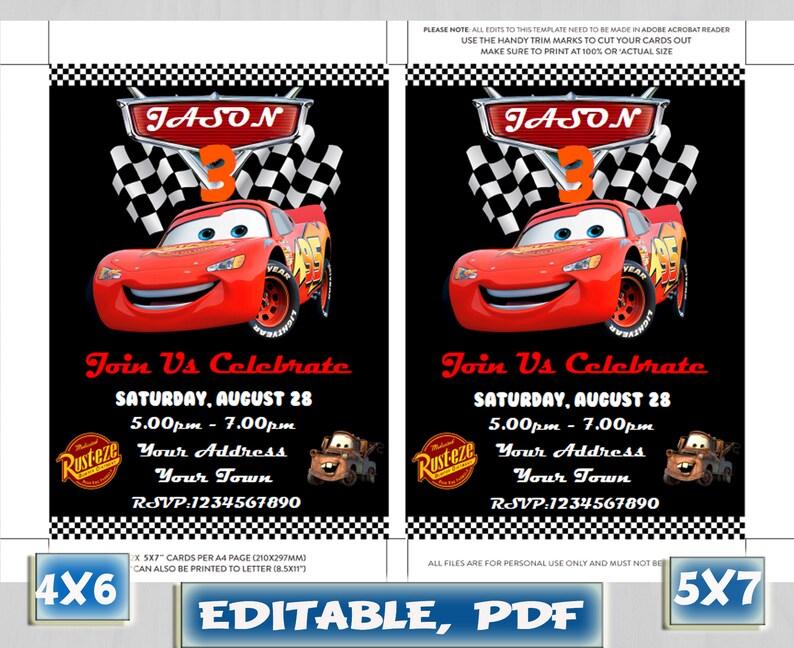 Disney Cars Birthday Invitation Lightning McQueen Editable Pdf Instant Download