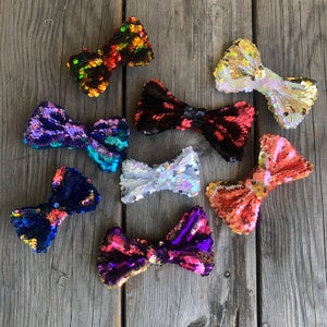 Fun Gift Blue Sequin Bow Tie Cosplay Halloween Adult Child Kids Bulk Cute Shiny BowTies Party Favor Dance New Year/'s Eve Costume