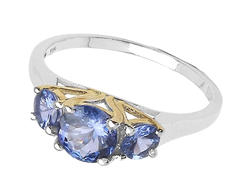 925 Sterling Silver 1.1ct Tanzanite 3-Stone Ring