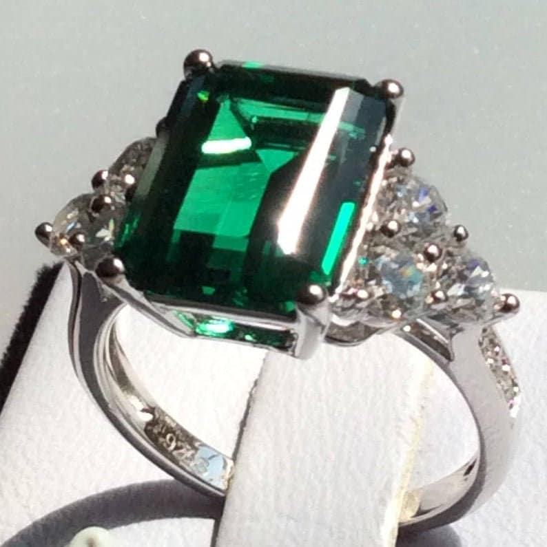 Free Jewelry Box Anniversary Promise Ring Created Emerald Engagement Ring Engagement Ring: Emerald Cut 925 Silver Wedding ring