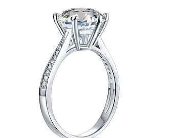 3ct (9.5mm) Simulated Diamond Engagement Wedding Real 925 Sterling Silver Ring