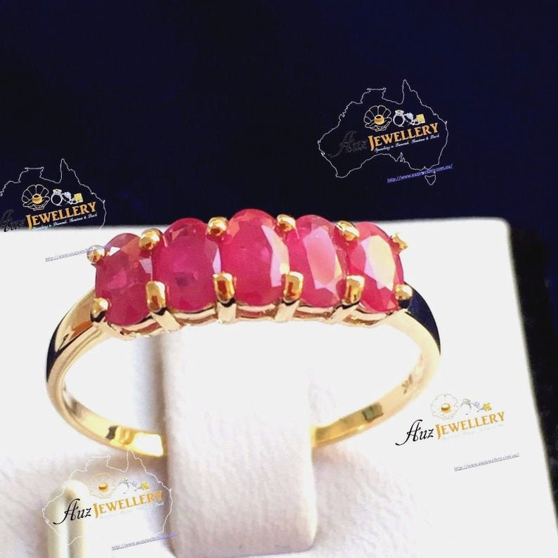 Genuine Ruby ring for women women ring Genuine Ruby Ring: Engagement Ring anniversary gift wedding ring jewelry Real 9ct Yellow Gold
