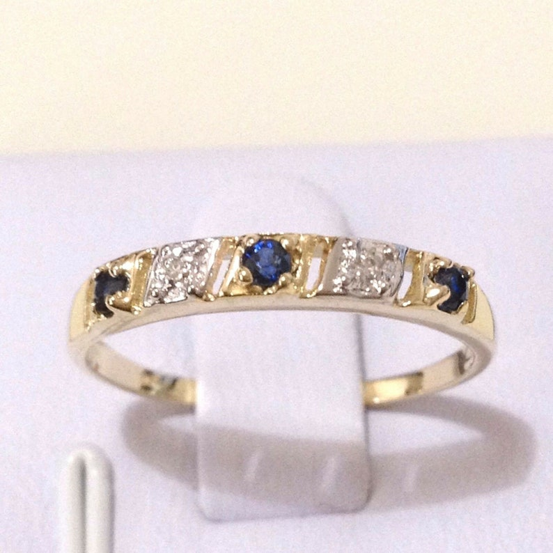 0.16ct TW Genuine Natura Sapphire /& Diamond in Real 9K Solid Yellow Gold YG Ring