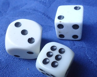 3 x Vintage French white dice, celluloid, 1 cm cube, depressions for white markings, gaming dice, heavier than usual